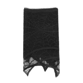 Halloween Decoration Wowen Lace Fireplace Scarf Black Spider WebCover 280x43CM - intl