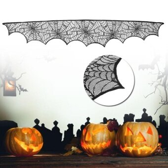 Halloween Festival Decoration Cobweb Lace Fireplace Scarf Spider Web Cover - intl