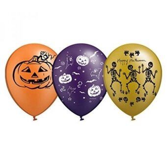 Halloween Fun Party Balloons 12 inch 20 pcs in 3 colors and prints Gold Type - intl
