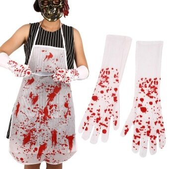 Halloween Nurse Bloody Cross Gloves Long White+Red Ballroom Cosplay Decors - intl