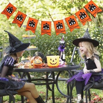 Happy Halloween Fabric String Banner Hanging Bunting Flag GarlandDecor Party Ornaments(#3) - intl