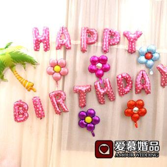 งานเลี้ยงวันเกิด happybirthday จดหมายก๊าซวันเกิดของทารกหนึ่งร้อยวัน Party จัดตกแต่งภาพ