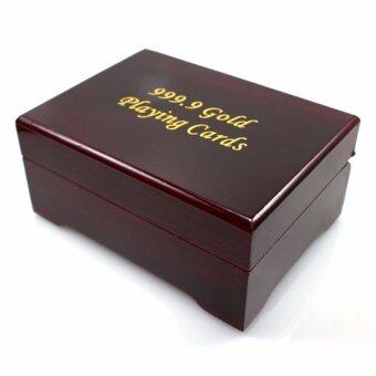 IBERL Wooden Case for Gold Foil Plated Poker Playing Cards - intl