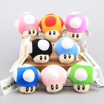 Harga Super Mario Mushrooms Cute Mini 7 CM Plush Keychain Soft Stuffed Dolls 8 Pcs/Lot - intl