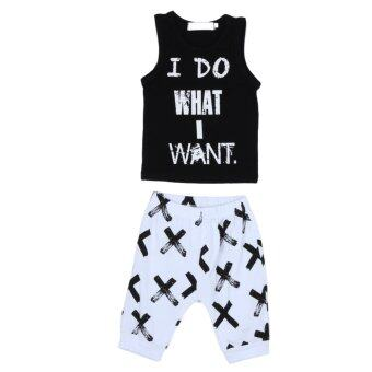Harga Baby Boys Clothing Set Sleeveless Tops with Shorts (White Black)