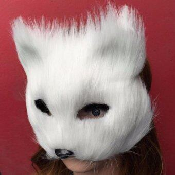 Harga Mask Anonymous Animal Party White Plastic Villus Arctic Fox Mask Cosplay Party Upper Half Face Halloween Masks Cat,Masquerade - intl