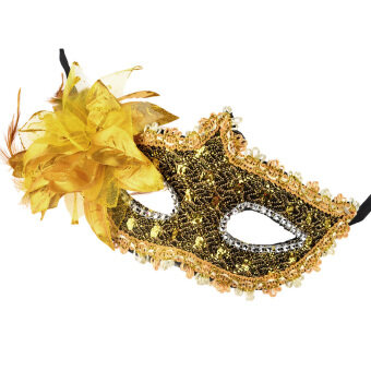 Harga LT365 Half Face Rhinestone Lace Mask Princess Lily Venice Mask Halloween Party Ball Stage Elegant Luxury Feather Facemask - Golden
