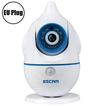 Harga ESCAM Penguin QF521 Wireless WiFi Baby Monitor 1.0MP Support Two-way Audio Pan / Tilt Rotation - EU PLUG (White)