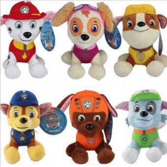 Harga 6Pcs PAW PATROL COMPLETE SET 6 Cute Dogs plush Doll Dog Toy Zuma 20CM - intl