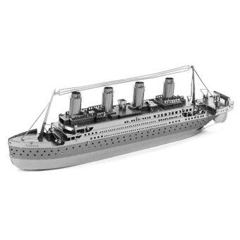 Harga 3D DIY Metallic Titanic Ship Model Nano Puzzle Model Building Toys - Intl