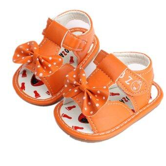 Harga Baby Girls Sandals Toddler First Walker Shoes PU Leather Bowknot (orange) - Intl
