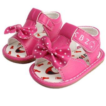 Harga Baby Girls Sandals Toddler First Walker Shoes PU Leather Bowknot (pink) - Intl