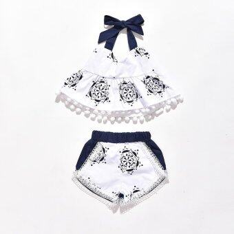 Infant Cute Clothing Set Baby Girl Bodysuits Clothes Set Tank TopT-shirt Sleeveless Shorts 2pcs Outfit - intl