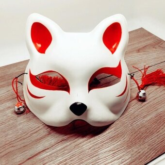 Japanese Fox Half Mask with Tassels and Small Bells Cosplay Maskfor Masquerades Festival Costume Party Show Style:Cat E