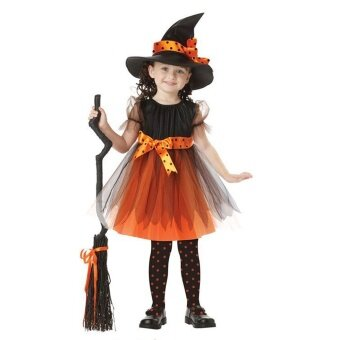 Kid Girls Halloween Costumes Witch Wizard Dress with Hat HalloweenRole Play Cosplay Party Dress-up Supplies Yellow 140cm - intl