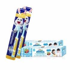 KODOMO แปรงสีฟันเด็ก โคโดโม (โปรเฟสชั่นแนล) 0.5-3 ปี 2 ด้าม + ยาสีฟัน โคโดโม แบบเจล กลิ่นบับเบิ้ลฟรุ๊ต 40 กรัม 2 หลอด
