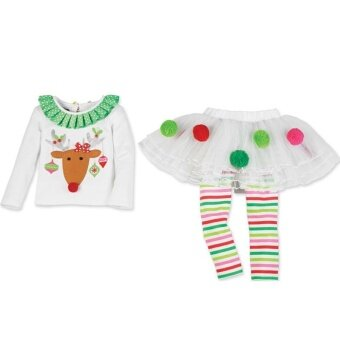 Kurry Baby Girls Christmas Lace Skirt Suit Cute Clothing Outfits High Quality - intl