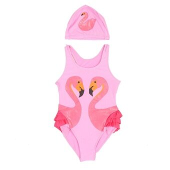 Lovely Girls Kids Printing One-piece Swimsuit Bathing BeachSwimwear with Hat(Pink M) - intl