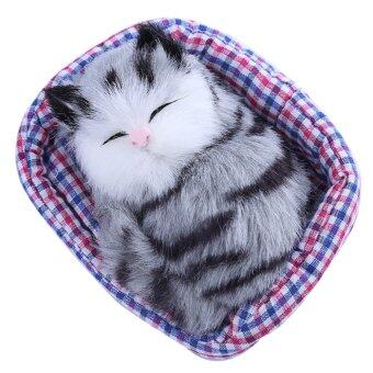 Harga Lovely Simulation Sounding Sleeping Cat Plush Toy with Nest(198278706)