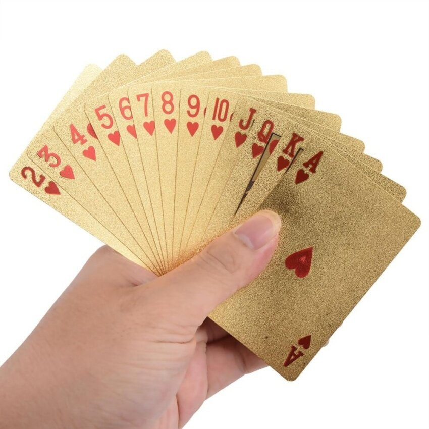 Luxury Poker Cards Golden Shiny Foil Playing Cards Plastic Poker Cards (Euro & Wood Box) - intl