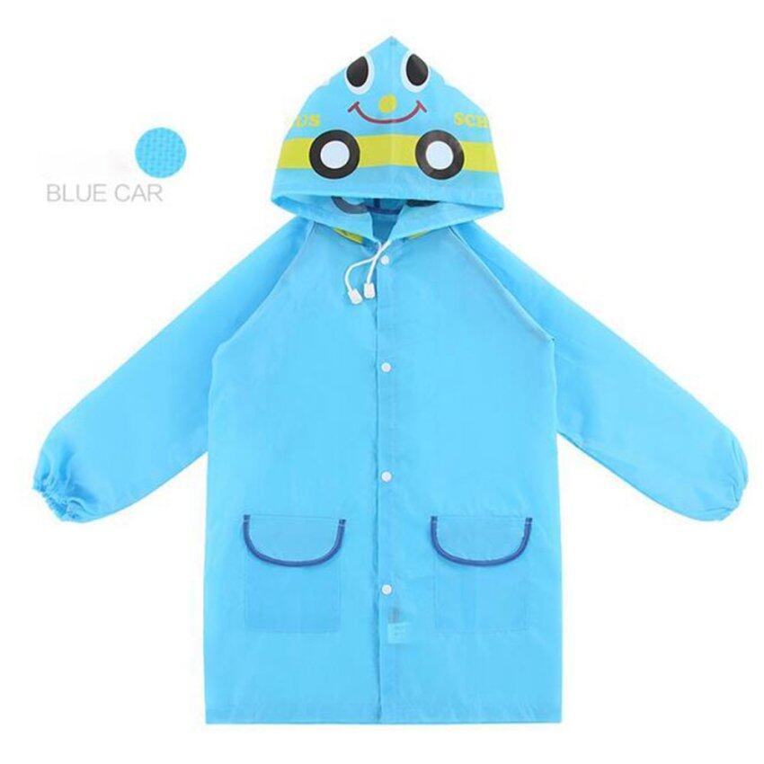 Mamon Shop เสื้อกันฝนเด็ก Funny Rain Coat (รถสีฟ้า)