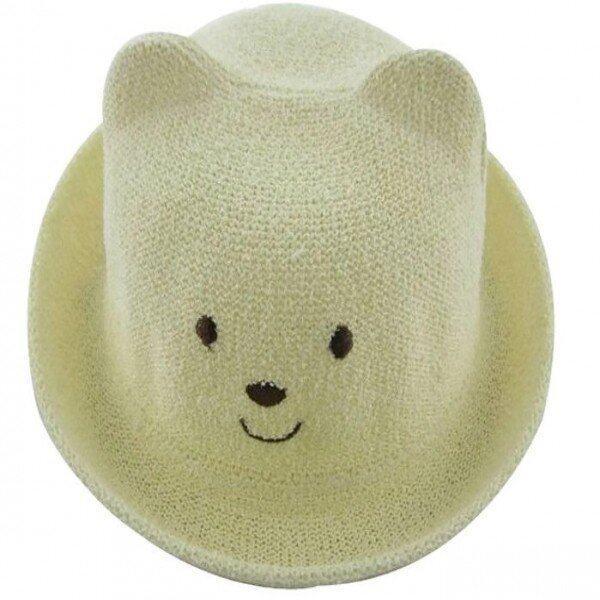 max baby หมวกเด็กปักลายหมี - สีครีม