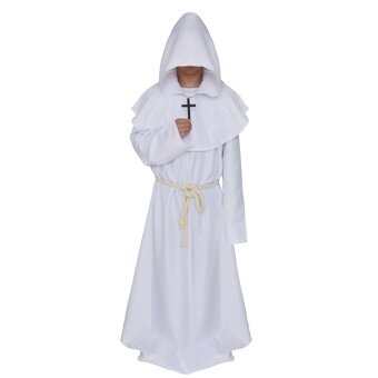 Men Medieval Hooded Robe Monks Witch Pastor Cloak Knight Fancy CoolCosplay Halloween Party Costume Clothes White - intl