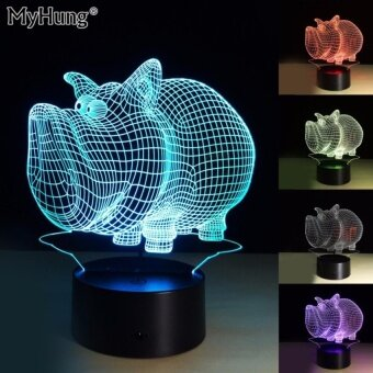 New 3D Visual Led Night Lights For Kids Gifts Decoration OfficeOrUsed As Baby Sleep Night Lamp Lovely Pig Touch Remote Lights7color - intl