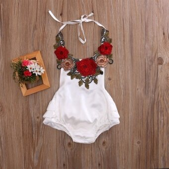 Newborn Infant Baby Kids Girls Flower Romper Jumpsuit BodysuitClothes White 0-3Y (12-18 Months) - intl