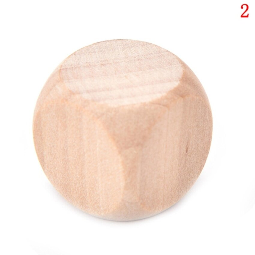 Original Wood 6 Sided Dice Blank Faces For Printing Engraving Toys size :2cm - intl