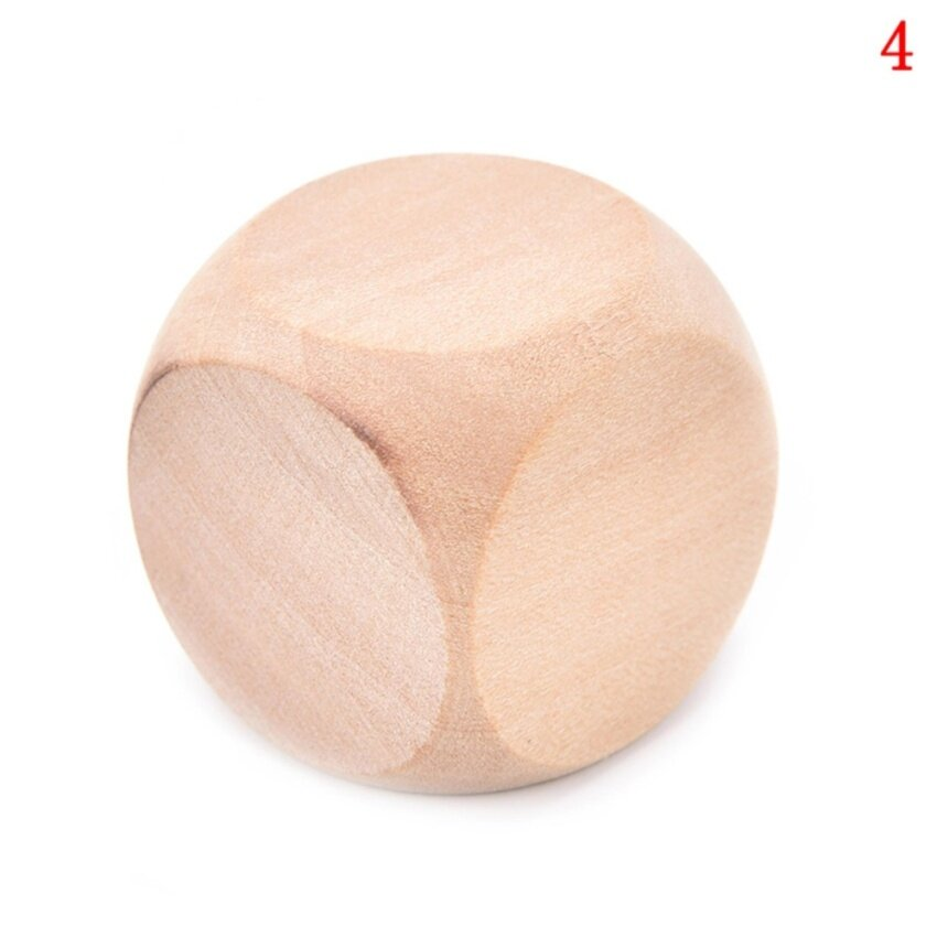 Original Wood 6 Sided Dice Blank Faces For Printing Engraving Toys size :3cm - intl