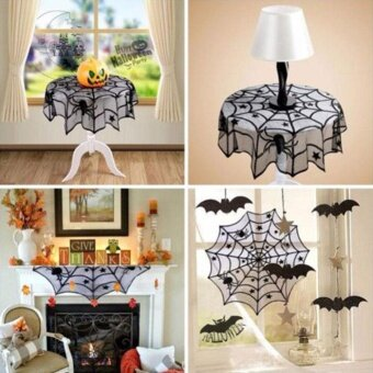 Party 40 Halloween Fireplace Decor Spider Web Lace Table ClothRunner Cover - intl