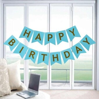 Party Decorations Flash Gold Paper Banners HAPPY Birthday LetterFlag Blue - intl