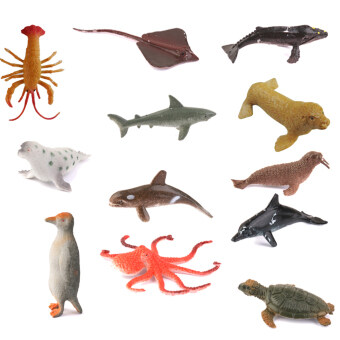 Plastic PVC Marine Animals Model Kids Toy 12pcs Multicolor