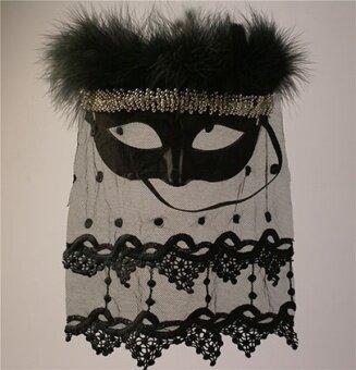 ขนนกสีดำฮาโลวีนเวทีหน้ากากหน้ากาก