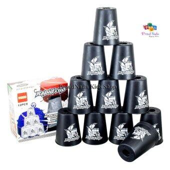 ProudNada Toys Stack Cup เกมส์เรียงแก้ว(สีดำ) WIN HAND Rapid cup 12 PCS NO.266