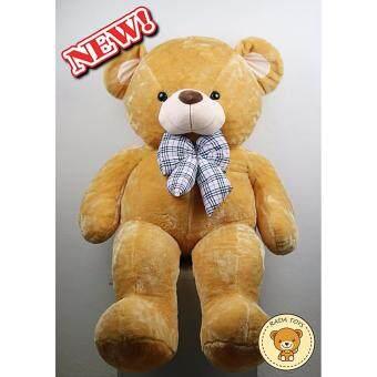 ตุ๊กตาหมีอ้วน ขนฟู ขนาด 1.4 เมตร (สีน้ำตาลส้มโบว์สก็อต)