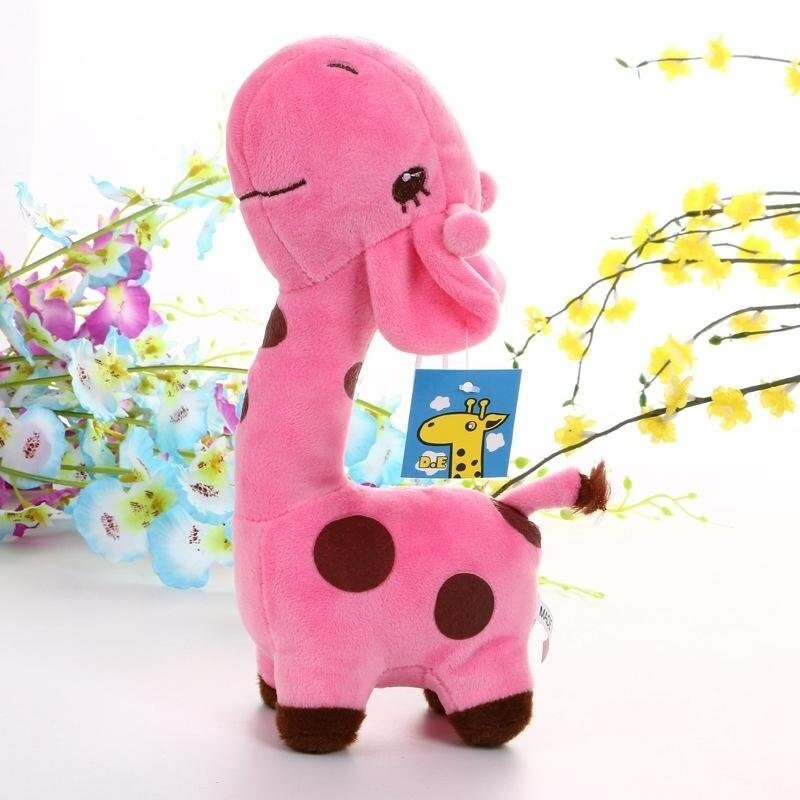 SaiDeng For kids 18cm Cute Soft Animal Toy Giraffe Plush Doll Birthday Gift (Pink) - intl