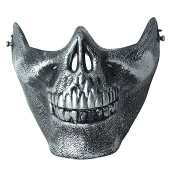 Skull Skeleton Airsoft Paintball Half Face Protect Mask Forhalloween Antique Silver - intl