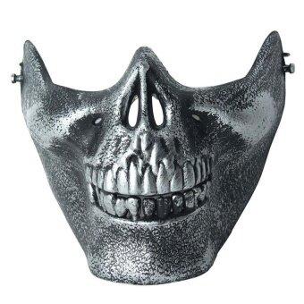 Skull Skeleton Airsoft Paintball Half Face Protect Maskfor Halloween Antique Silver - intl