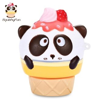 SquishyFun PU Sponge Slow Rising Simulate Cute Panda Ice Cream Toy Pendant Decoration Squeeze Stress Reliever – intl