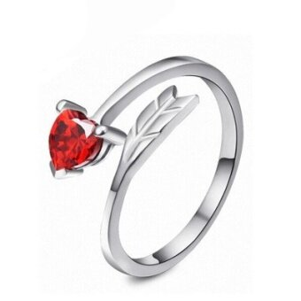 Sterling Silver simple love ring  red diamond lady opening ring  simple jewelry  foreign trade accessories (Red) - intl