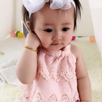 Super Cute Baby Girls Lace Decor Romper Sleeveless Fashion LovelyPrinting Jumpsuit- pink - intl