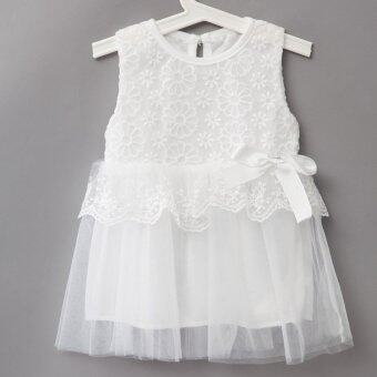 ซื้อที่ไหน Sweet Round Neck Sleeveless Solid Color Lace Gauze Baby Girls Dress – intl