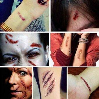 Tattoo Sticker Waterproof Halloween Terror Wound Realistic Blood Injury Scars - intl