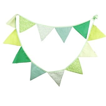 The New Fashion Birthday Party Holiday Decoration Triangle String Flag Green - intl