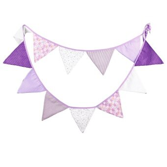 The New Fashion Birthday Party Holiday Decoration Triangle String Flag Purple - intl