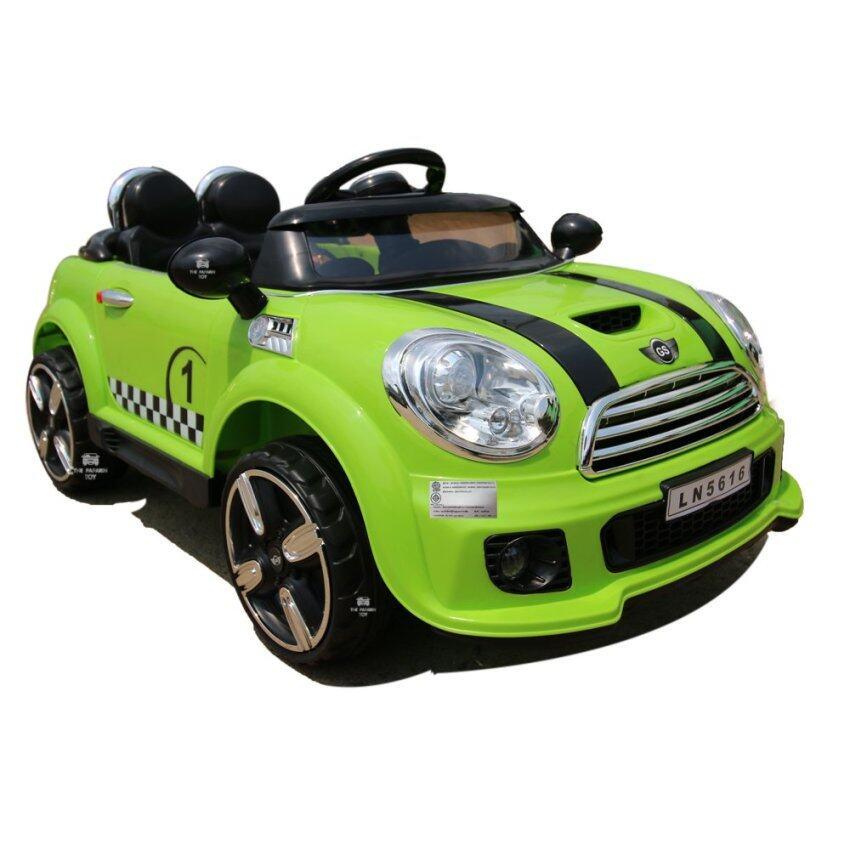 The paparin รถเด็กไฟฟ้า รถเด็กเล่น รถแบตเตอรี่ไฟฟ้า รถบังคับ รุ่น มินิคูเปอร์ 2มอเตอร์.เขียว