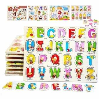 Todds & Kids Toys ของเล่นเสริมพัฒนาการ เซทหมุดไม้ รวมจิ๊กซอว์เสริมความรู้ 8 เเผ่น (ภาษาไทย-อังกฤษ ตัวเลขเเละสัตว์ต่างๆ)