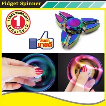 Tri Fidget Hand Spinner Triangle Alloy Finger Toy EDC Focus ADHD Autism Purple - intl